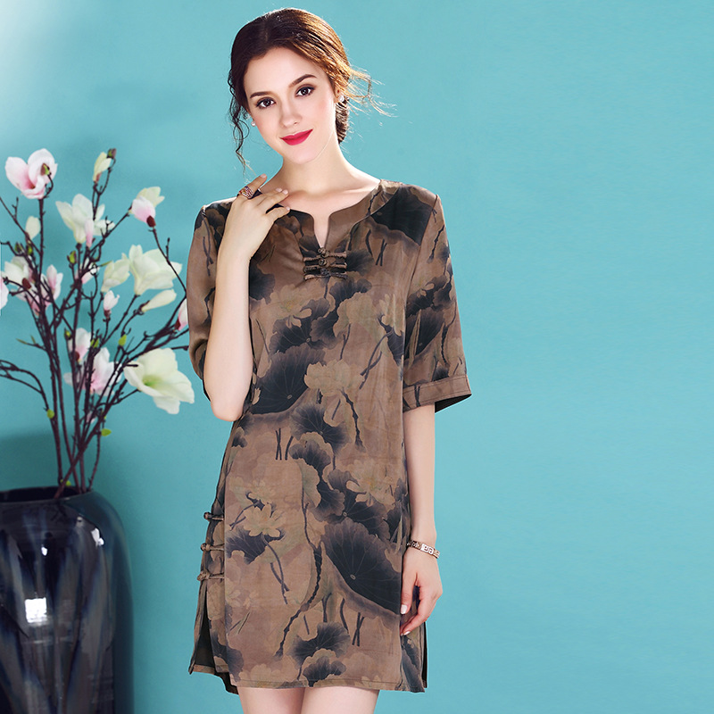 Attractive Ink Print Scoop Neck Silk Qipao Cheongsam Dress