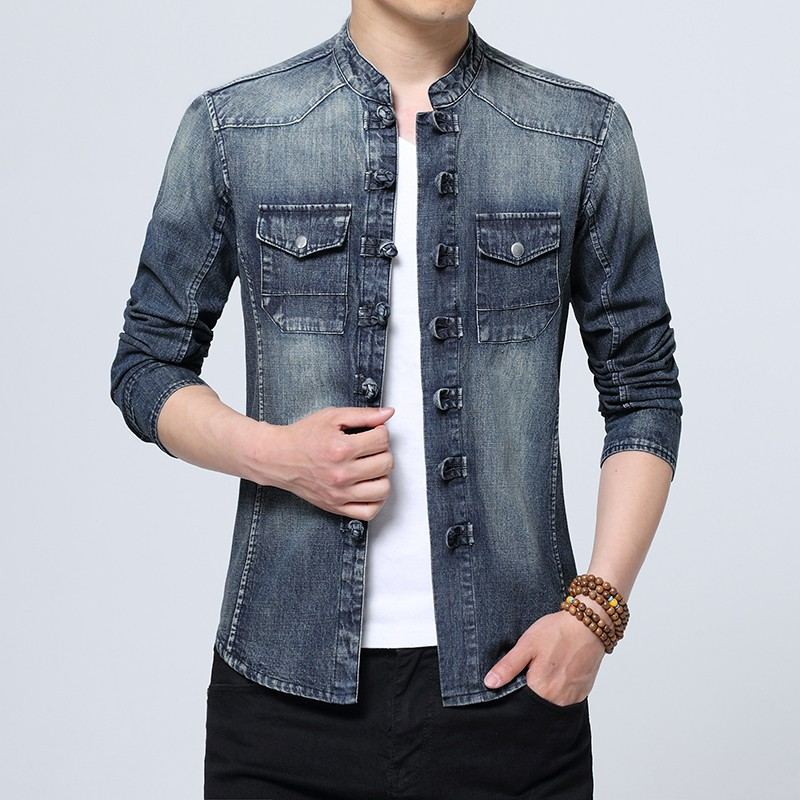 Modern Frog Button Mandarin Collar Denim Shirt
