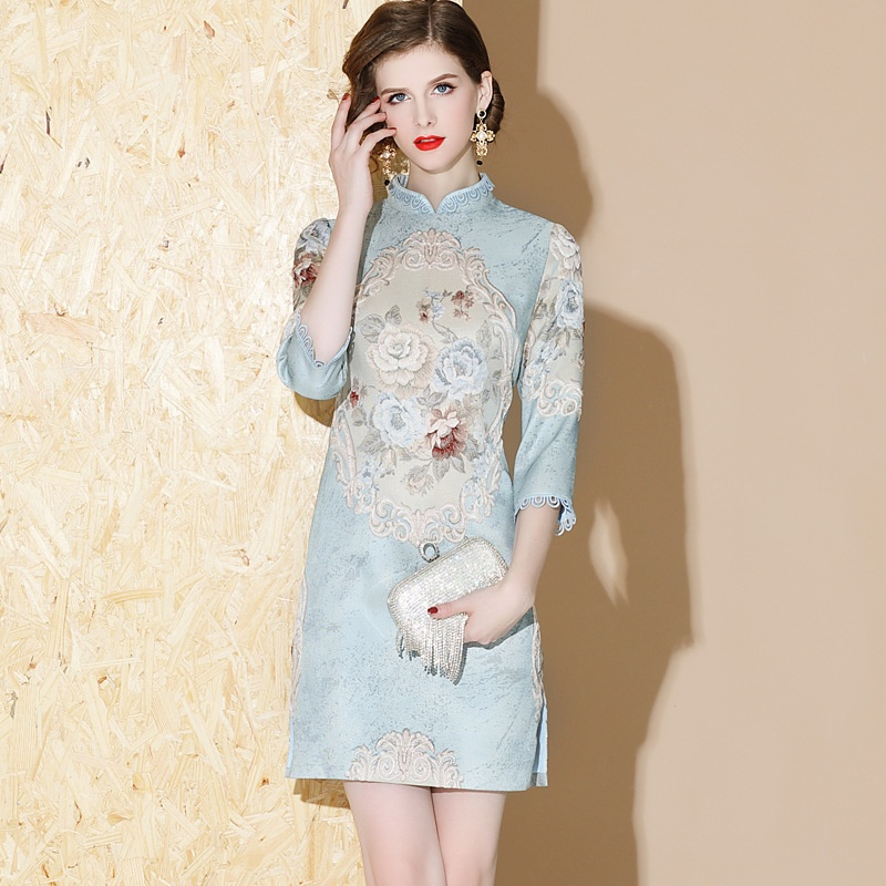 Gorgeous Floral Jacquard Short Qipao Cheongsam Dress