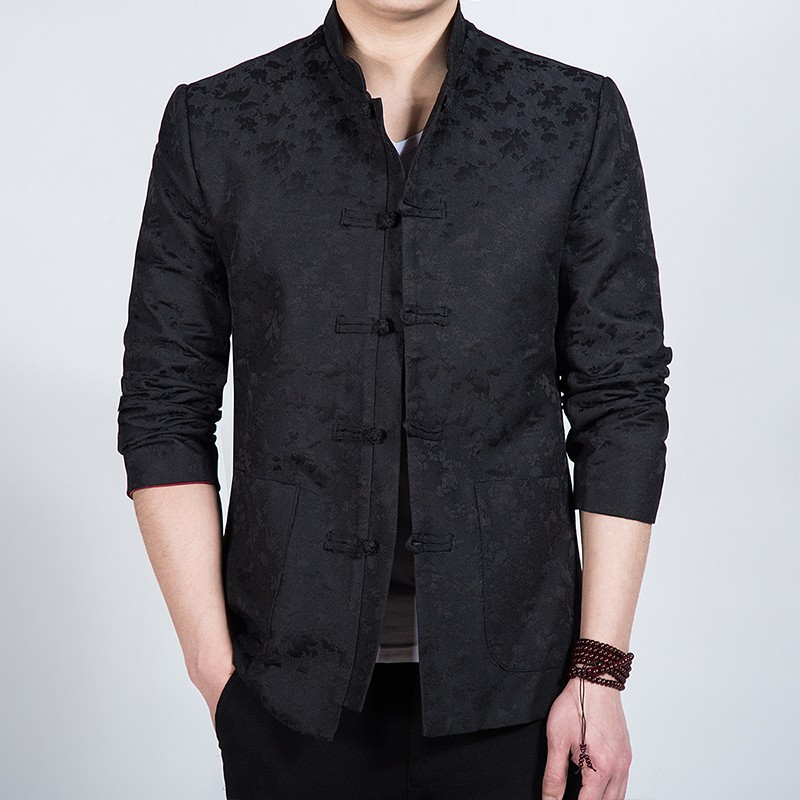 Fabulous Jacquard Frog Button Chinese Jacket - Black