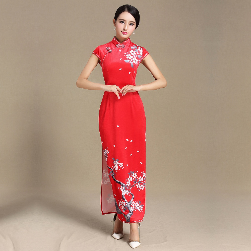 Pretty Blossom Flowers Print Qipao Cheongsam Chinese Dress