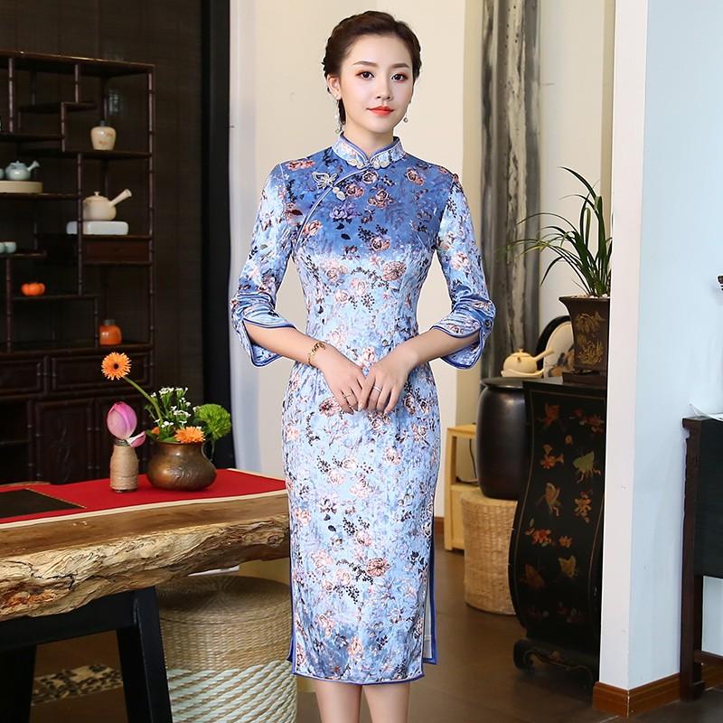 Pretty Cheongsam Qipao Dress Floral Print Velvet