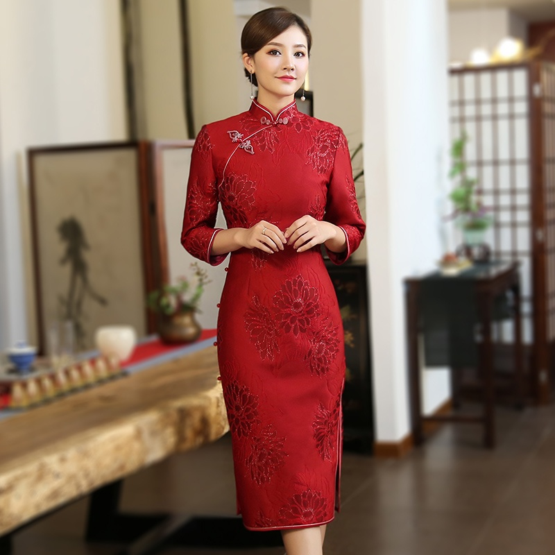 Adorable Claret Jacquard Qipao Cheongsam Chinese Dress