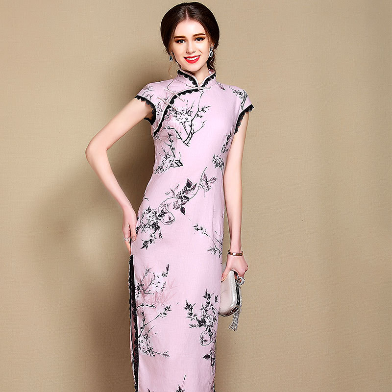 Attracting Floral Print Chinese Dress Qipao Cheongsam