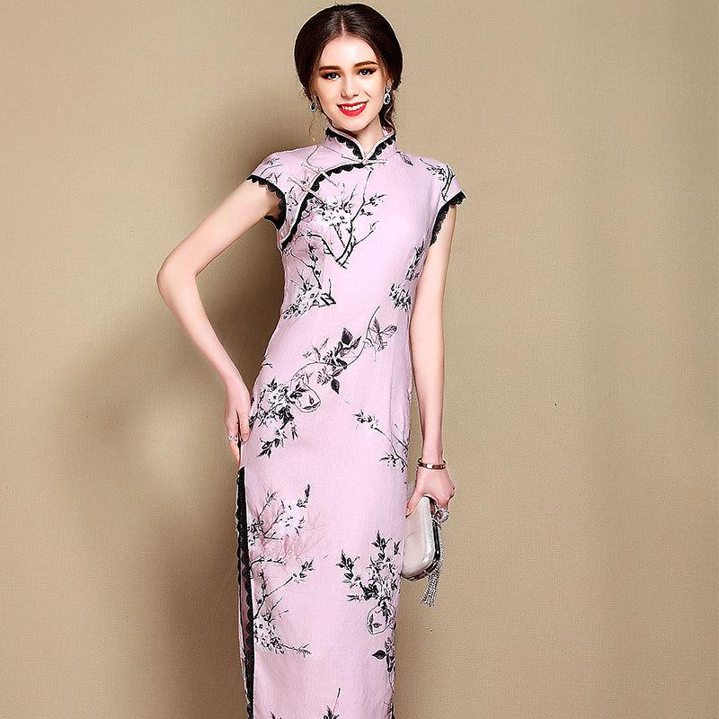 Attracting Floral Print Chinese Dress Qipao Cheongsam
