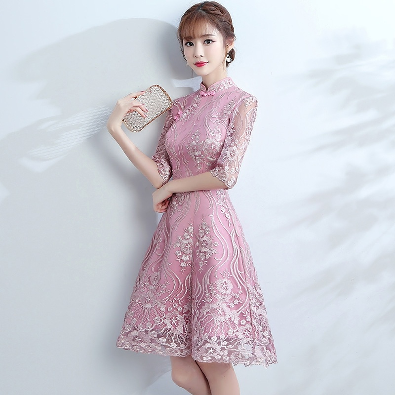 Charming Modern Lace Dress Qipao Cheongsam - A-Line