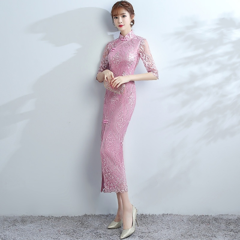 Charming Modern Lace Dress Qipao Cheongsam - Maxi