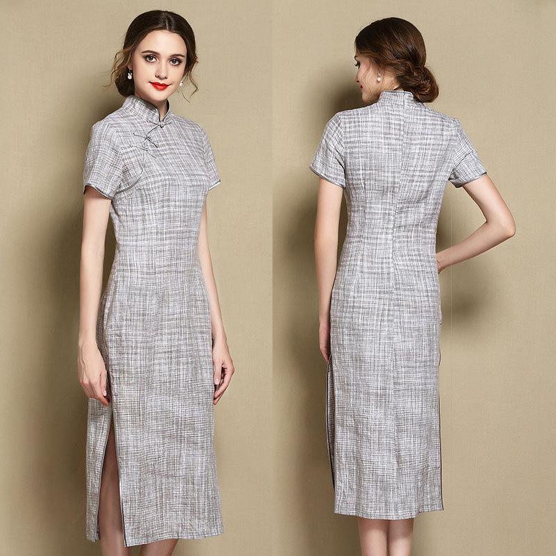 Attracting Ramie Mid-calf Qipao Cheongsam Dress