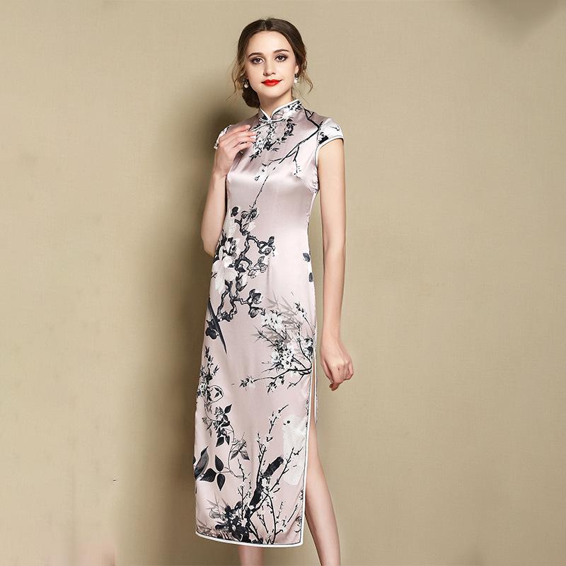 Wonderful Floral Print Silk Asian Cheongsam Qipao Dress