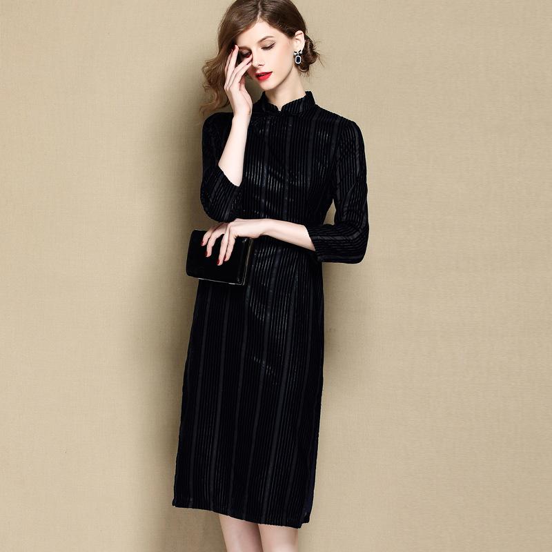 Striped Velvet Qipao Cheongsam Dress - Dark Blue