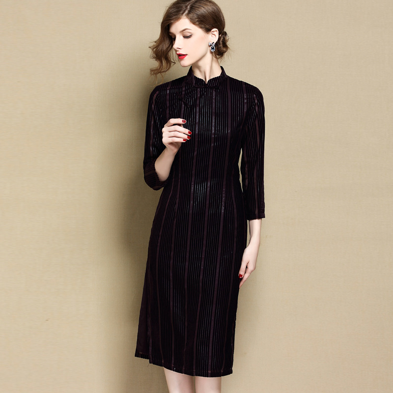 Striped Velvet Qipao Cheongsam Dress - Dark Purple