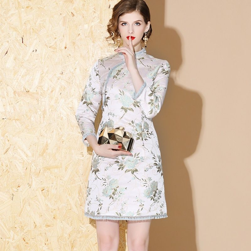 Lovely Floral Jacquard Short Cheongsam Qipao Dress