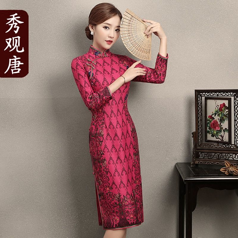Enchanting Print Chinese Dress Qipao Cheongsam - Rose Red