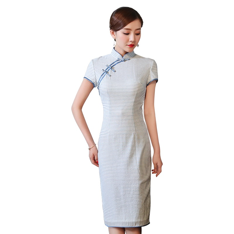 Pleasant Blue Plaid Qipao Choeongsam Chinese Dress