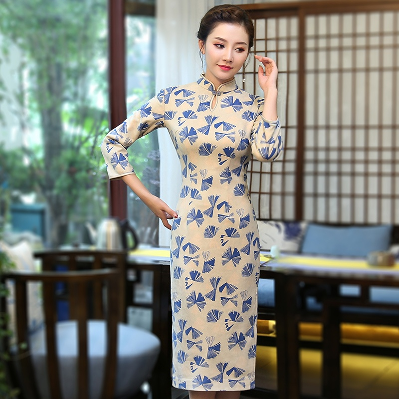 Pretty Qipao Cheongsam Dress Floral Print Suede