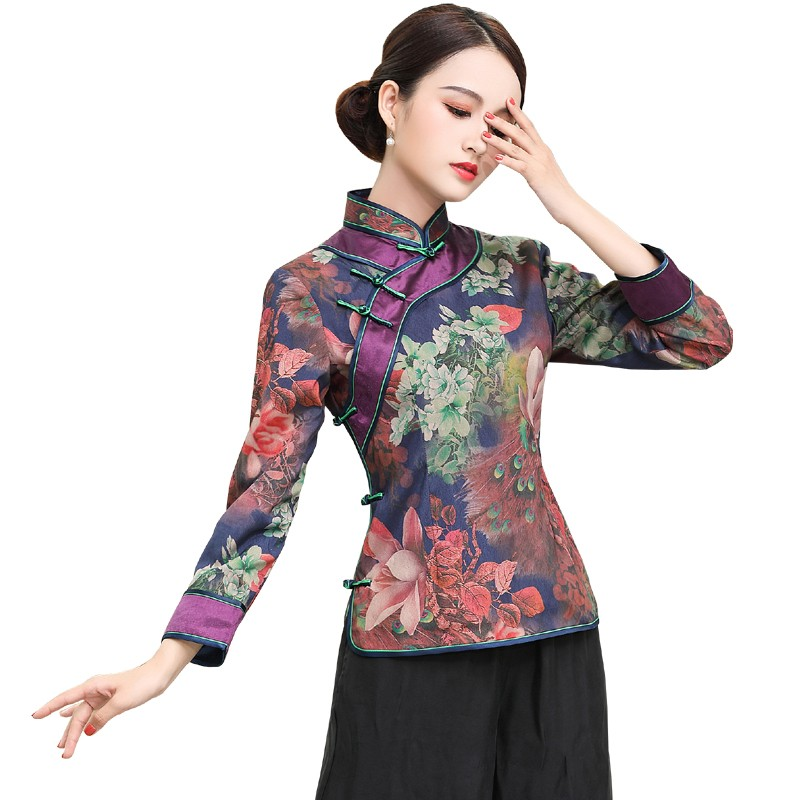 Splendid Print Frog Button Cheongsam Qipao Jacket