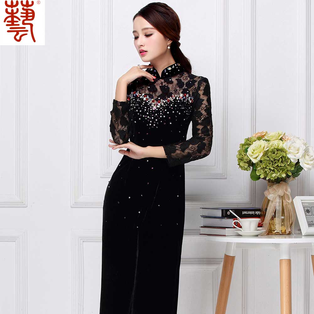 Pretty Beaded Velvet Chinese Dress Qipao Cheongsam - Black