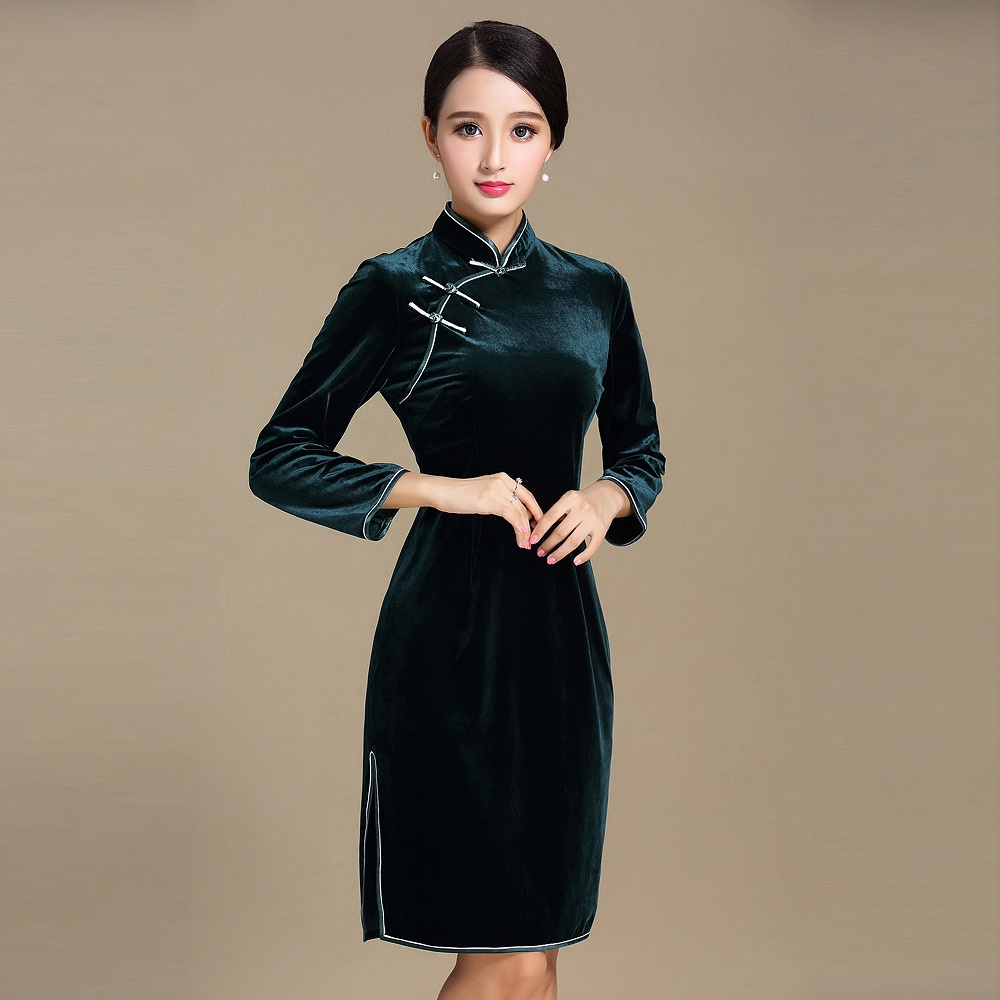 Pretty Dark Green Velvet Chinese Cheongsam Qipao Dress