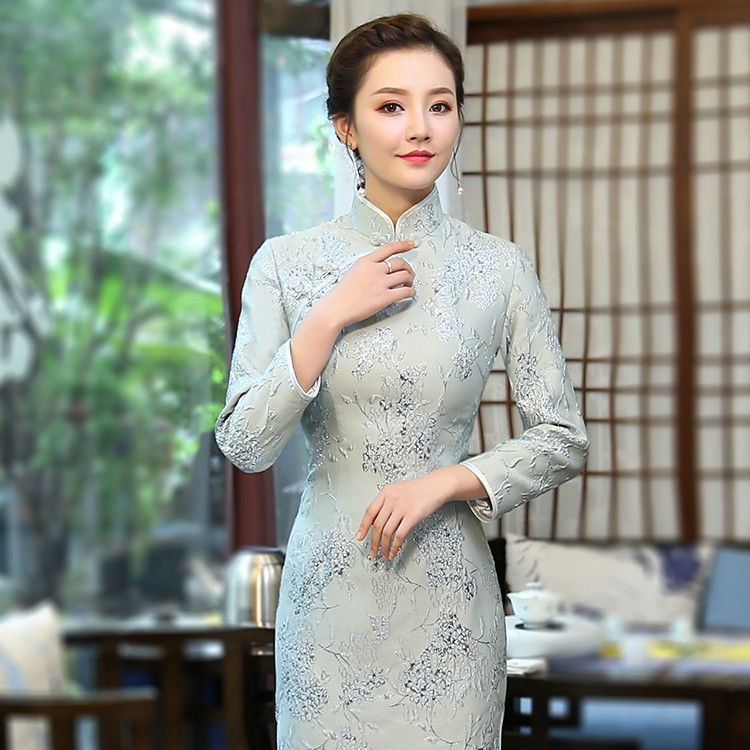Sweet GreenJacquard Qipao Cheongsam Chinese Dress