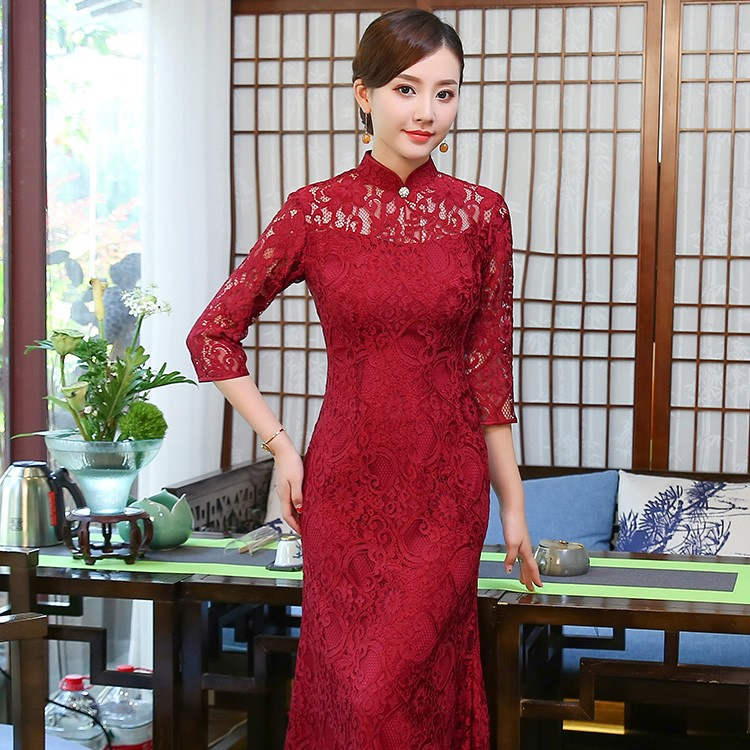 Gorgeous Lace Long Qipao Cheongsam Fishtail Dress