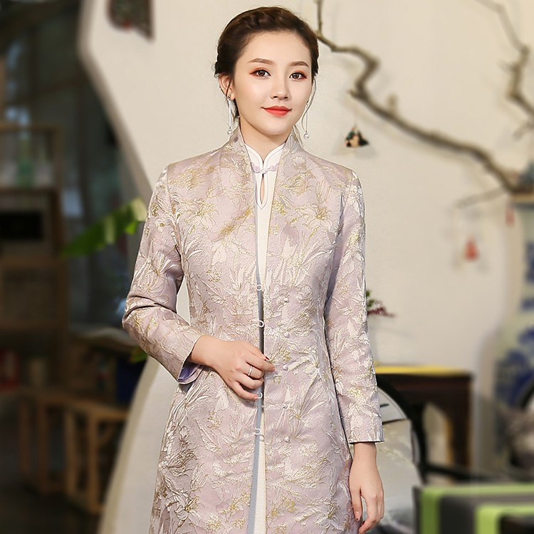 Modern Stand-up Collar Open Neck Jacquard Chinese Coat