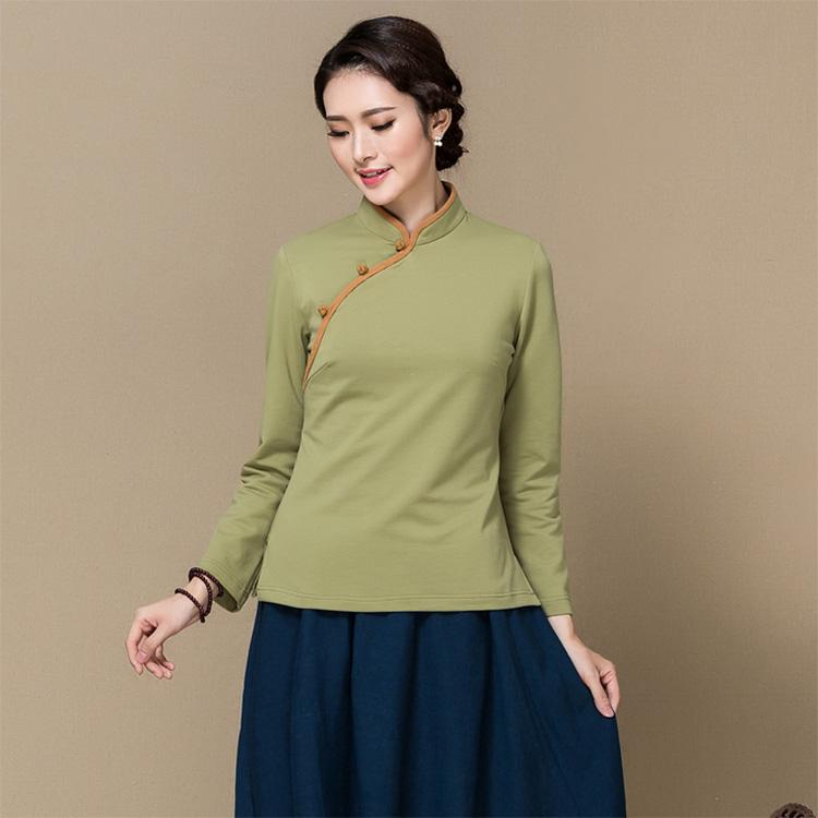 Sweet Classic Qipao Cheongsam Chinese Shirt - Green