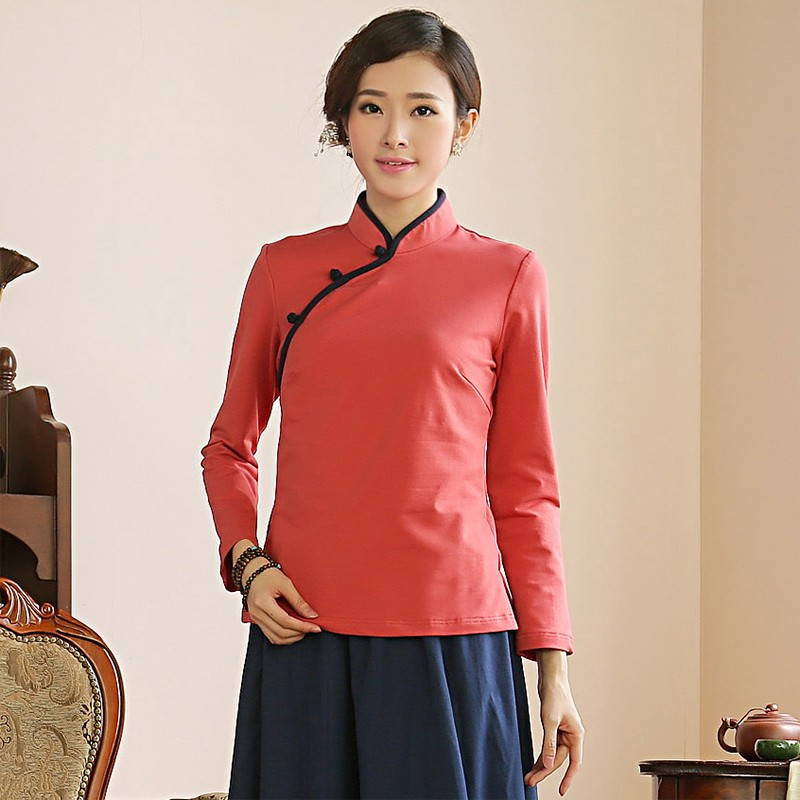 Sweet Classic Qipao Cheongsam Chinese Shirt - Red