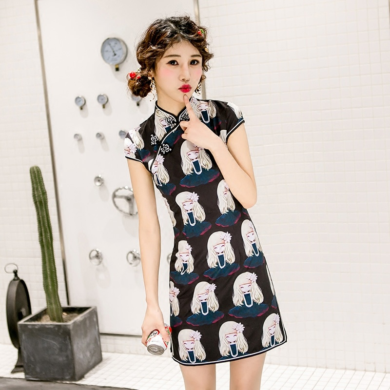 Cute Cartoon Girl Print Qipao Cheongsam Chinese Dress