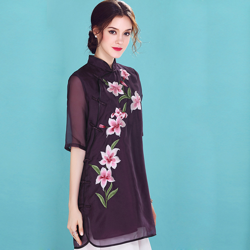 Adorable Embroidery Silk Chiffon Chinese Qipao Blouse