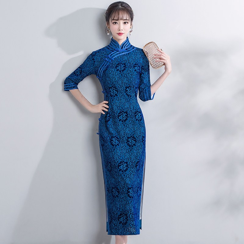 Enjoyable Flocked Velvet Cheongsam Qipao Chinese Dress