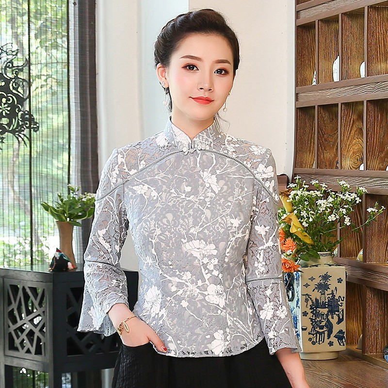 Pretty Lace Bell Sleeve Chinese Cheongsam Qipao Shirt
