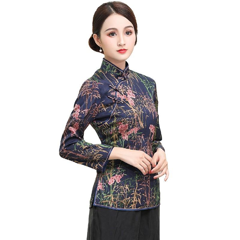Pretty Floral Print Back Zip Cheongsam Qipao Jacket