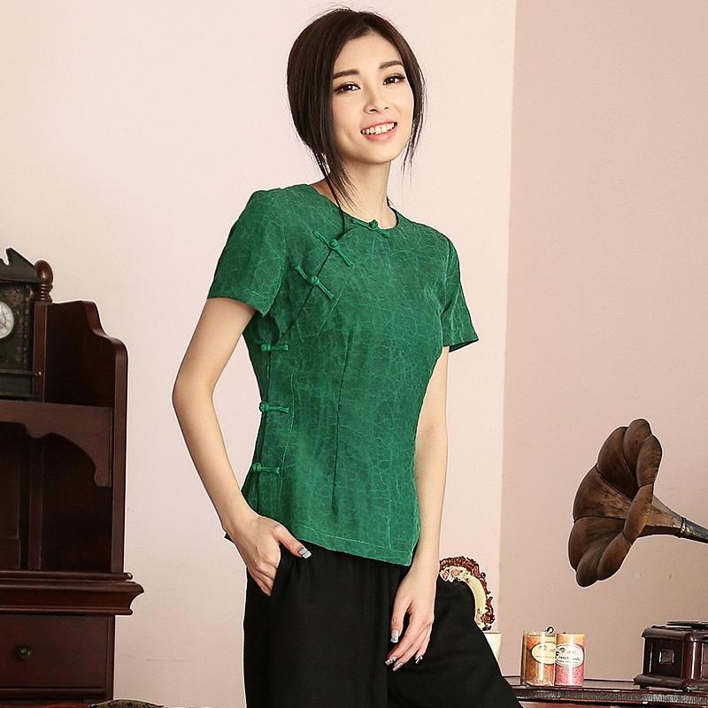 Nice Short Sleeve Scoop Neck Frog Button Silk Shirt