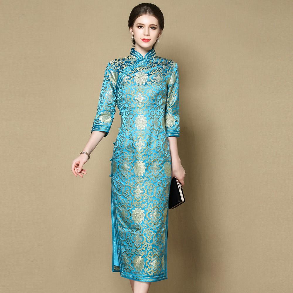 Charming Parsley Pattern Brocade Qipao Cheongsam Dress