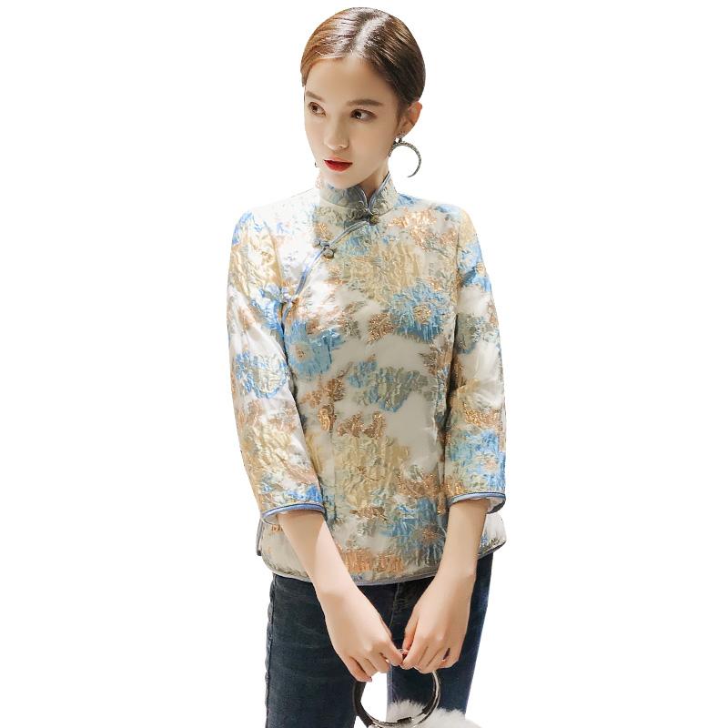 Attractive Floral Jacquard Qipao Cheongsam Shirt