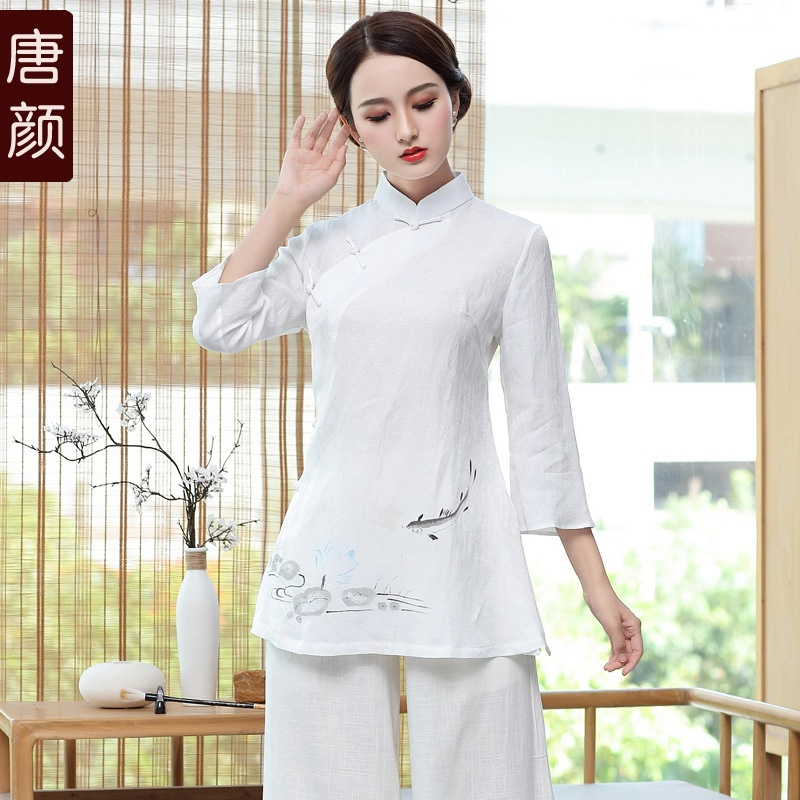 Fish And Lotus Drawing Qipao Cheongsam Blouse - White