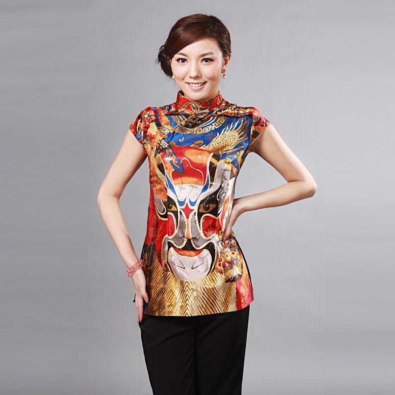Peking Opera Mask Cap Sleeve Blouse