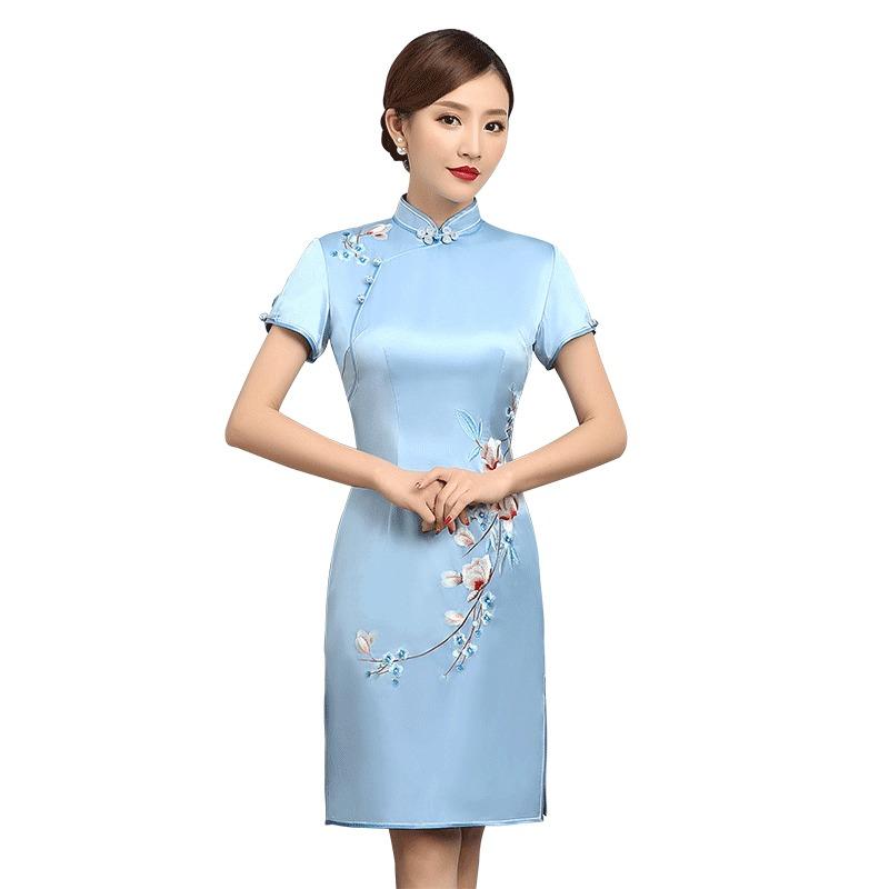Exquisite Embroidery Silk Qipao Cheongsam Dress