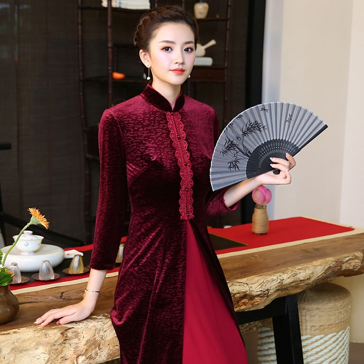 Beautiful Claret Velvet Cheongsam Qipao Chinese Dress