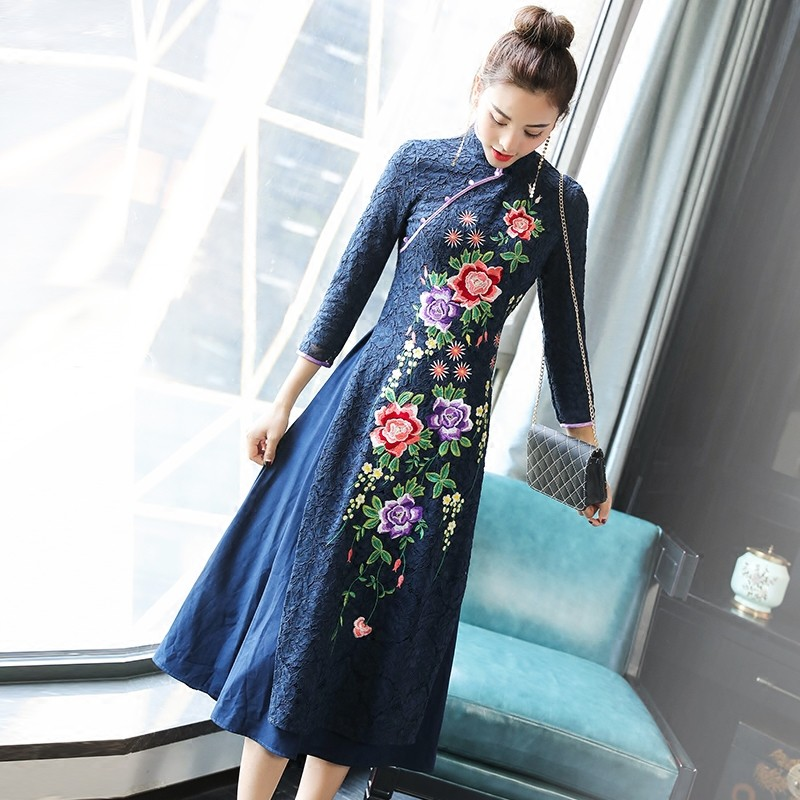 Spectacular Embroidery Ao Dai Qipao Cheongsam Dress
