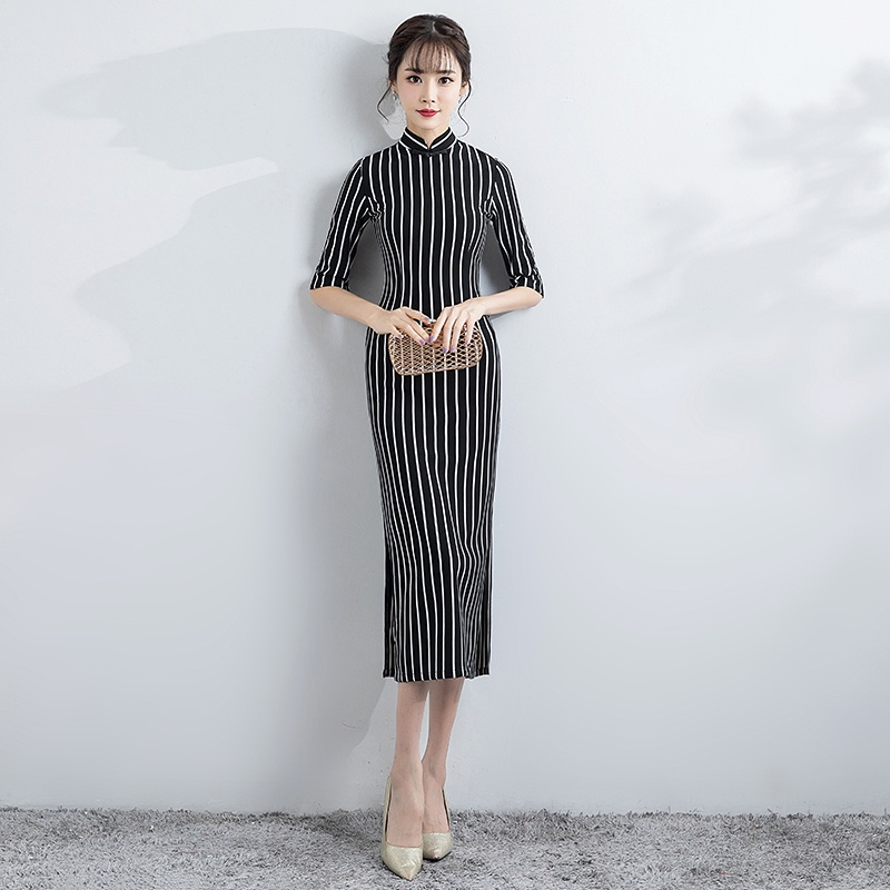 Charming Black And White Striped Cheongsam Qipao Dress