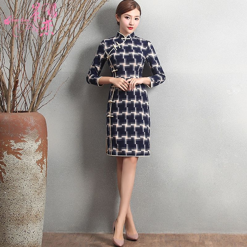 Fetching Plaid Knee Length Cheongsam Qipao Chinese Dress