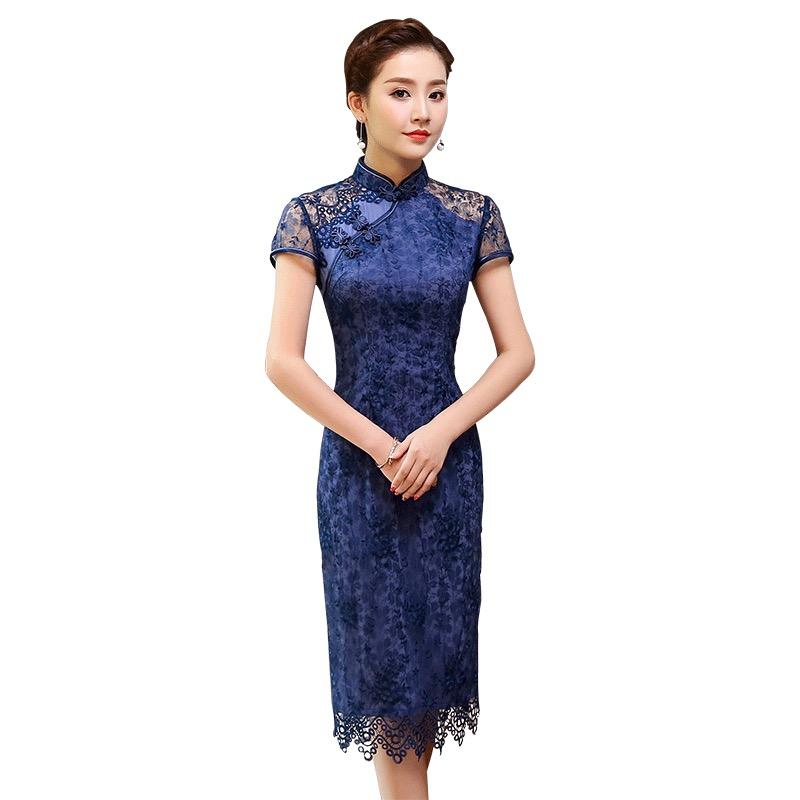Amazing Blue Lace Knee Length Cheongsam Qipao Dress