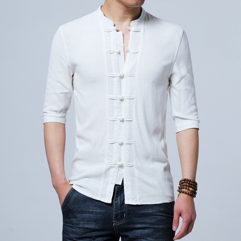 Charming Frog Button Chinese Tang Shirt - White