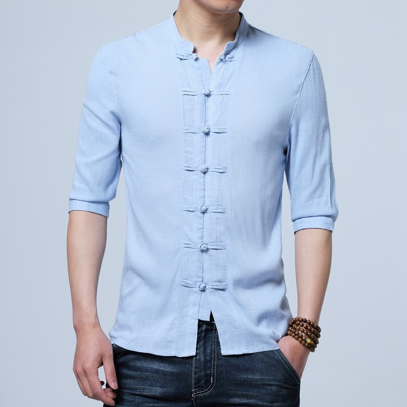Charming Frog Button Chinese Tang Shirt - Light Blue