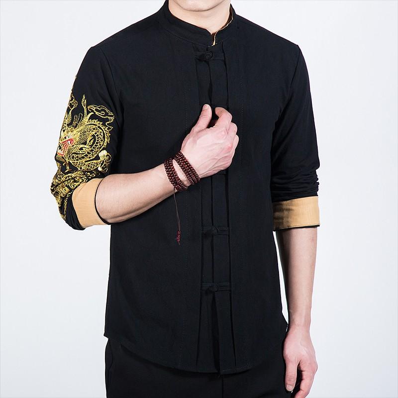 Nice Dragon Embroidery Frog Button Mandarin Shirt