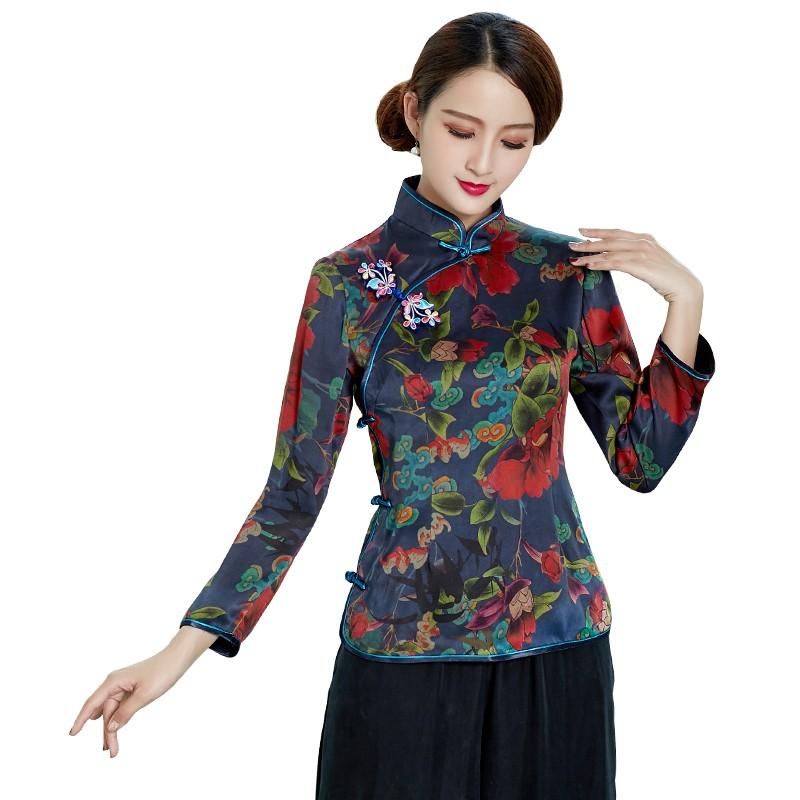 Fetching Floral Print Silk Cheongsam Qipao Jacket