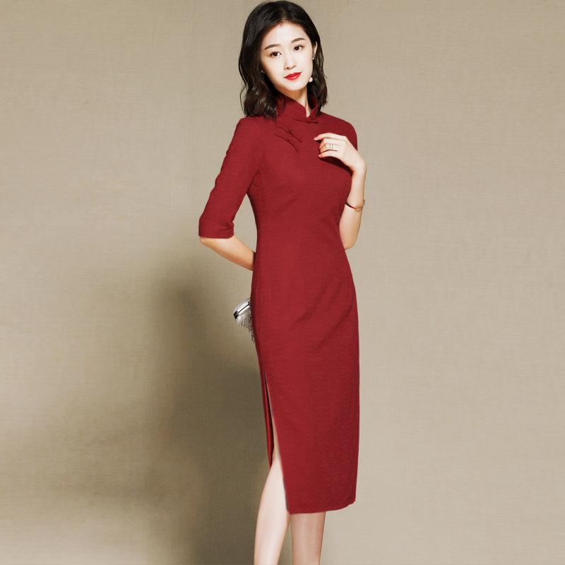 Elegant Half Sleeve Cheongsam Qipao Dress - Claret