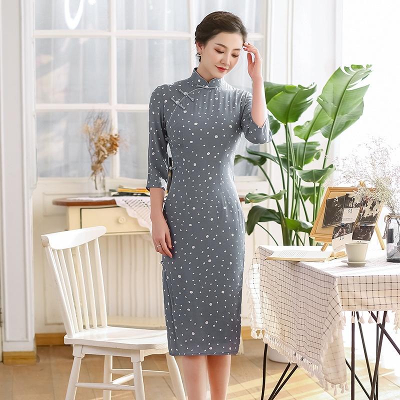Pretty Polka Dot Cheongsam Qipao Chinese Dress