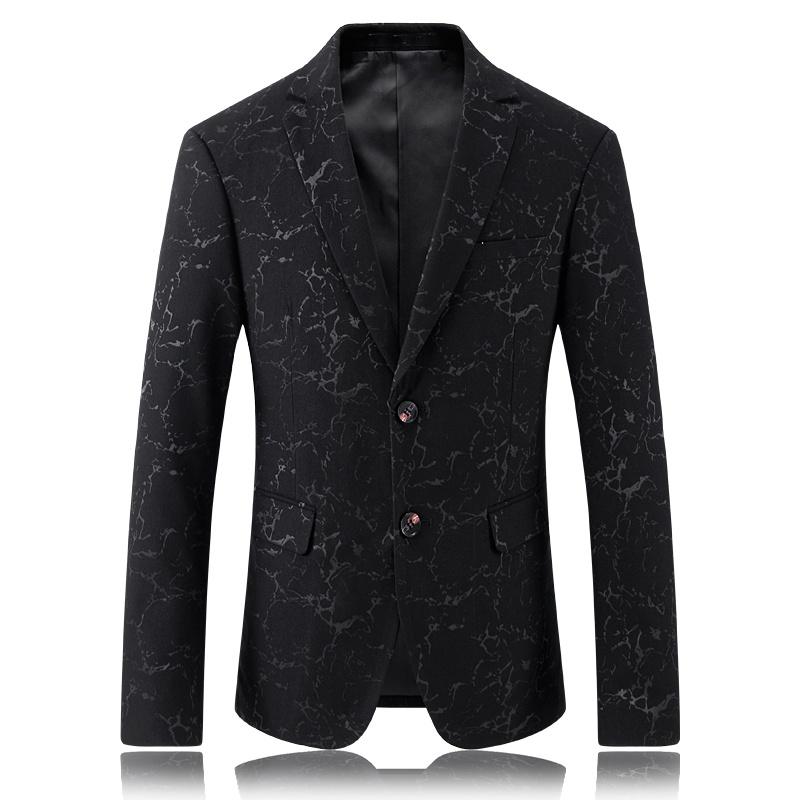 Charming Modern Print Two Buttons Black Blazer